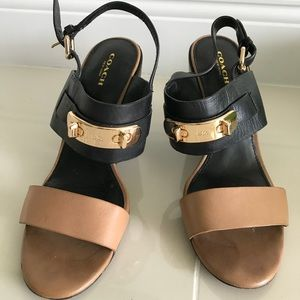Coach two-tone sandal block heels